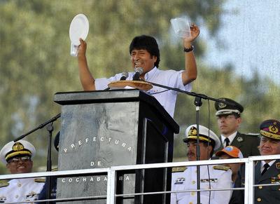 El presidente de Bolivia, Evo Morales, durante la I Conferencia Mundial de Pueblos sobre el Cambio Climático y la Madre Tierra, que se ha celebrado en el país andino.