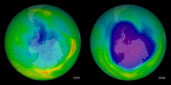 El 'agujero' de la capa de ozono de 1979 y en 2008 medido desde satélite. Los códigos de color indican la concentración de ozono (la máxima, en naranja; la mínima, en violeta).