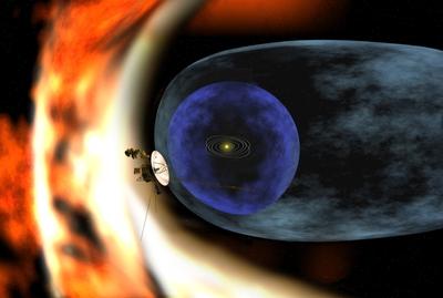 Esquema de la estructura del Sistema solar, con la nave 'Voyager 1'