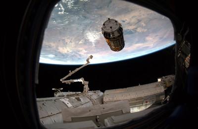 La nave de carga  Kuonotori 2  se acerca a la Estación Espacial Internacional, cuyo brazo robótico se prepara para engancharla.