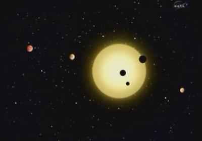 Dibujo del nuevo sistema planetario descubierto por el telescopio  Kepler .