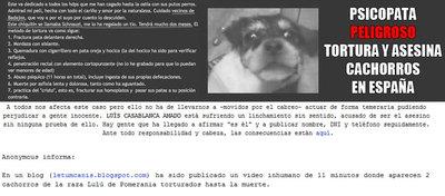 Captura del blog de Anonymus donde se informa de las pistas que pueden ayudar a localizar al torturador de cachorros.