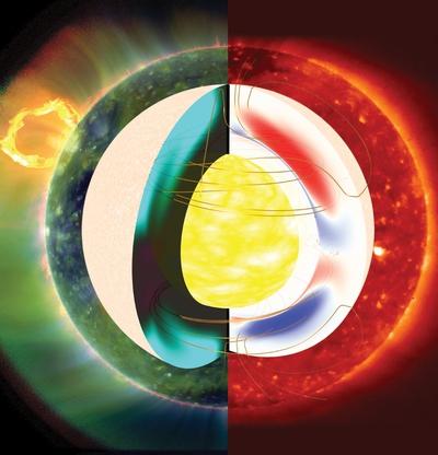 Ilustración de los campos magnéticos en el interior del sol y la corona exterior en dos fases de actividad: a la derecha, durante un período inusualmente prolongado de baja actividad, y a la izquierda una fase activa.