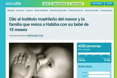 Petición pública en Internet para que el Instituto Madrileño del Menor permita a Habiba reunirse con su hija.
