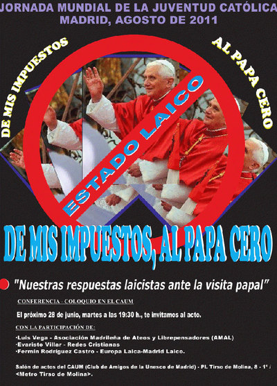 Imagen de la octavilla que firman organizaciones y colectivos que están programando algunos actos críticos con la visita del Papa a Madrid.