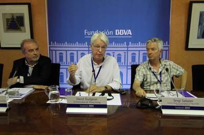Barceló, Dudgeon y Sabater en la rueda de prensa brindada esta mañana en la Fundación BBVA