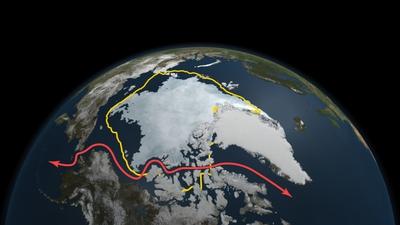 Imagen tomada por satélite en la que se aprecia que la mínima extensión helada en el Ártico este año,  registrada el 9 de septiembre, es inferior a la media de las últimas tres décadas (línea amarilla) y que se ha abierto el paso de navegación del Noroeste (línea roja).