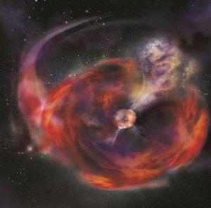 Ilustración de la hipótesis de la fusión de una estrella de neutrones y una estrella gigante que originó el estallido de rayos gamma GRB 101225A.