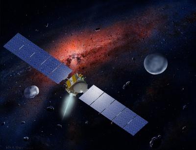 Imagen virtual de la sonda  Dawn  de la NASA, entre el asteroide Vesta (izquierda) y el planeta enano Ceres.