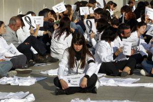 Protesta contra los despidos en el centro de investigación Príncipe Felipe de Valencia, el pasado septiembre.