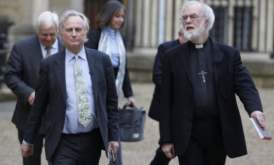 Richard Dawkins y Rowan Williams, a su llegada a la Universidad de Oxford.