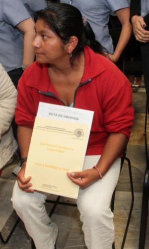 Adela Ramírez, el día de su liberación.
