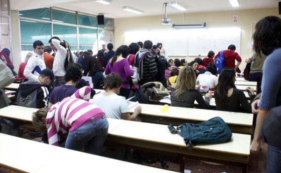 Aula en la Facultad de Empresariales de la Universidad de Granada.