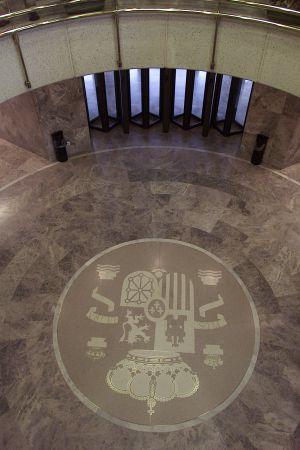 Vestíbulo del edificio del Centro Nacional de Inteligencia, en la carretera de A Coruña, a las afueras de Madrid