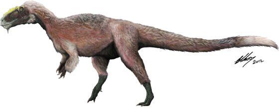 Ilustración del gran dinosaurio con plumas 'Yutyrannus huali'.