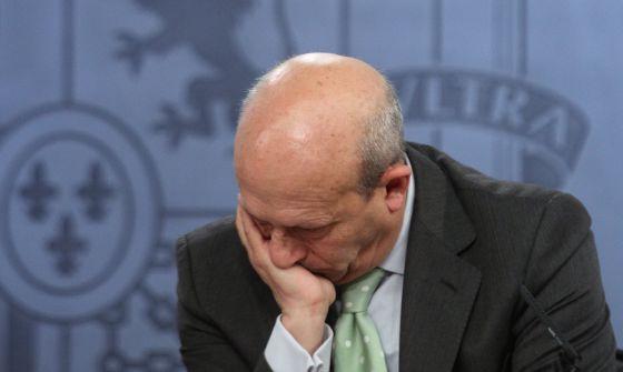 José Ignacio Wert, en la rueda de prensa del Consejo de Ministros en el Palacio de la Moncloa