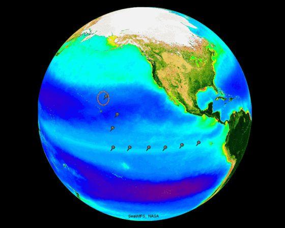 Localización de los sondeos realizados en el océano Pacífico en la campaña del buque 'RV Knorr'.