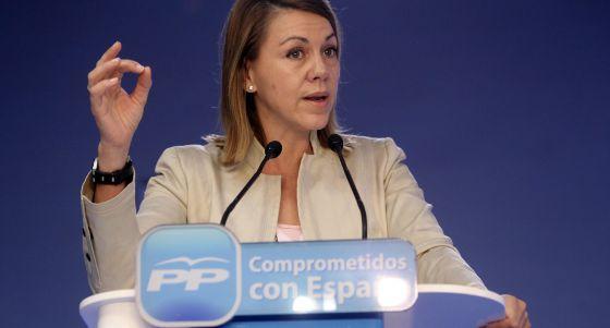 La presidenta de Castilla-La Mancha y secretaria general del PP, María Dolores de Cospedal.
