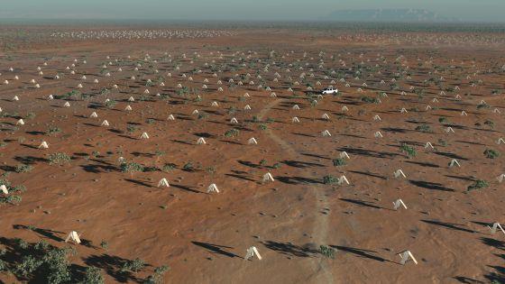 Ilustración de la distribución de estaciones de antenas del radiotelescopio SKA (Square Kilometre Array).