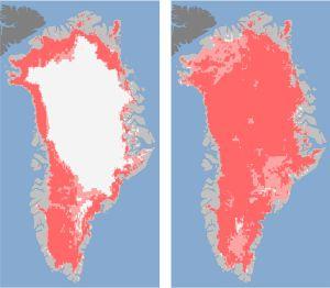 A la izquierda, Groenlandia el 8 de julio. A la derecha, cuatro días después.