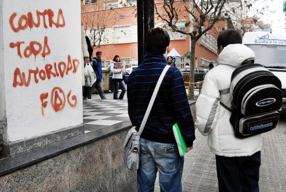 Salida de estudiantes de un instituto de A Coruña.