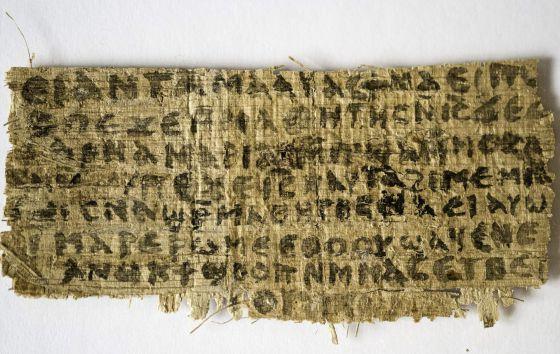 """Fragmento de un papiro de Egipto del siglo IV que contiene la frase """"Jesús dijo, mi esposa"""""""
