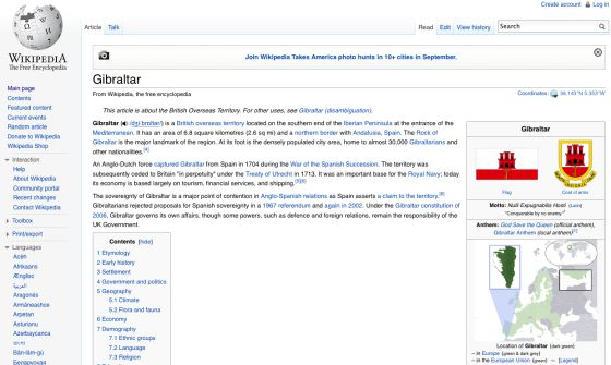 Entrada sobre Gibraltar en Wikipedia