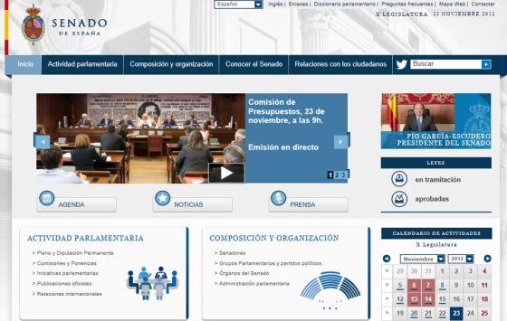 Imagen de la nueva web del Senado.