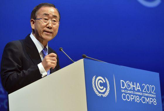 El secretario general de la ONU, Ban Ki-moon, en su intervención este martes en Doha.