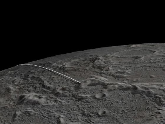 Trayectoria final de los robots gemelos de la misión Grail hasta chochar contra una montaña de la Luna.rn