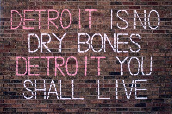 """""""Detroit no es hueso desnudo"""", declara una pintada en un muro de la ciudad."""