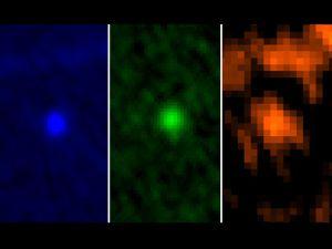 Imágenes del Apofis en tres longitudes de onda, captadas por el telescopio 'Herschel'.