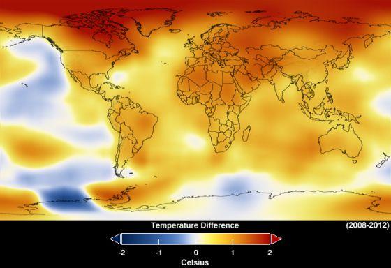 Media de anomalías de temperatura entre 2008 y 2012.
