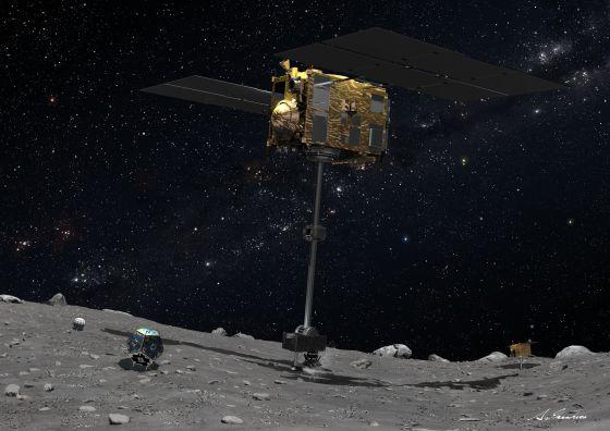 Ilustración de la sonda Marco Polo-R recolectando una muestra de la superficie de un asteroide cercano a la Tierra (NEA) con la Vía Láctea al fondo.