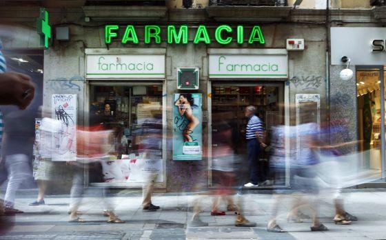 Una farmacia en la calle de Preciados en Madrid.