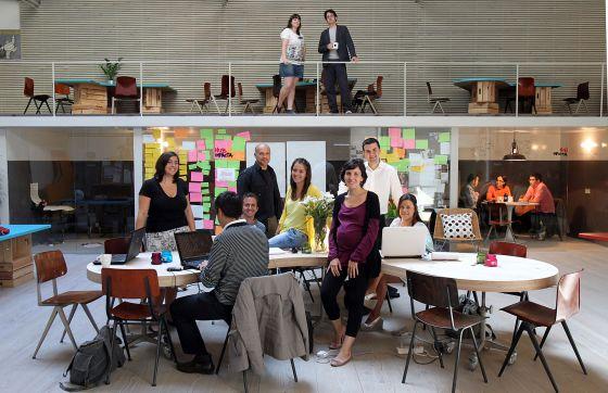Un grupo de emprendedores en Hub Madrid, en 2010.