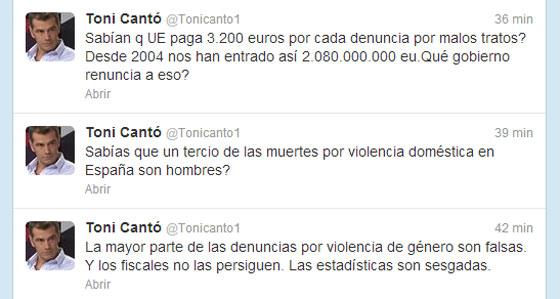 Toni Cantó se disculpa por dar crédito a bulos sobre violencia machista en la web