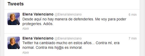 Mensajes en la cuenta de Twitter de la vicesecretaria general del PSOE.
