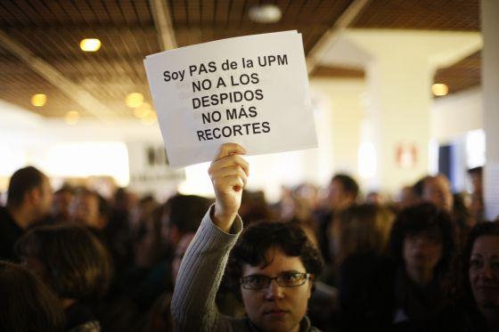 Concentración de trabajadores de la Universidad Politécnica de Madrid.