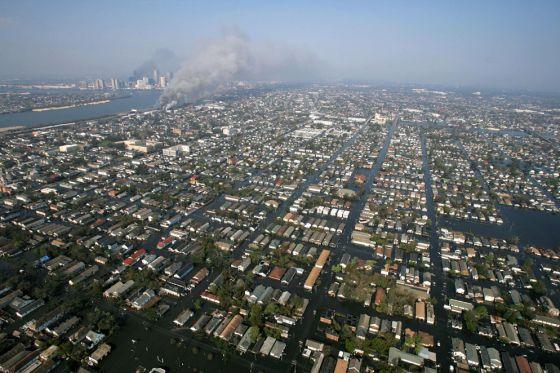 Imagen tomada sobre la ciudad de Nueva Orleans tras el paso de Katrina.