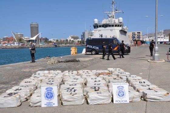 La droga incautada en el puerto de Las Palmas