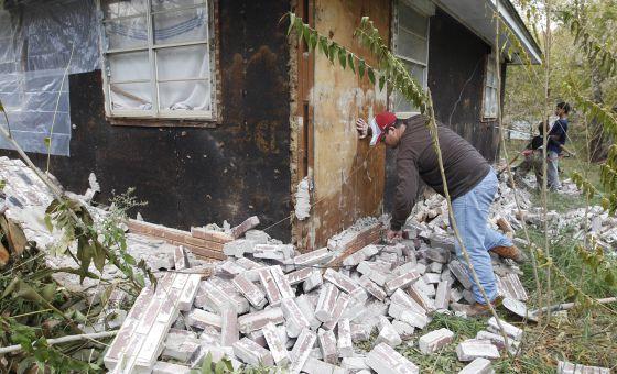 Una casa dañada por el terremoto en Sparks (Oklahoma, EE UU) en 2011.