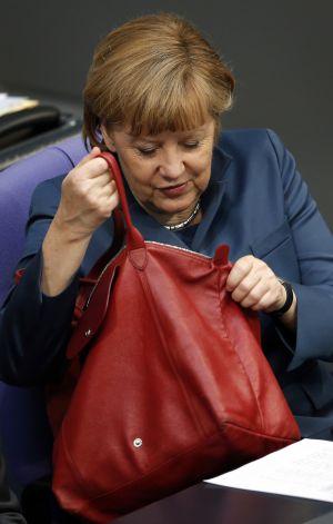 Merkel en el Bundestag en abril.