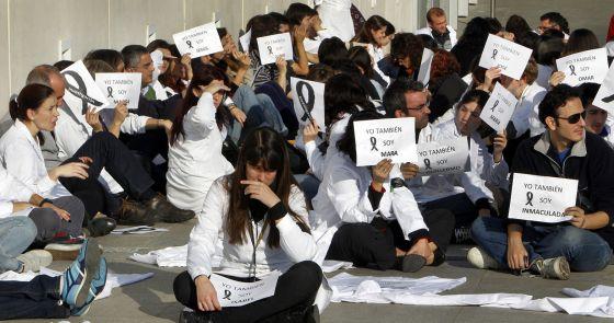 Protesta por los despidos del centro de Investigación Príncipe Felipe, en noviembre de 2011.