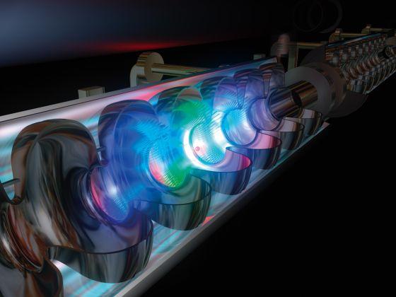 Simulación por ordenador del interior del acelerador de partículas lineal ILC.