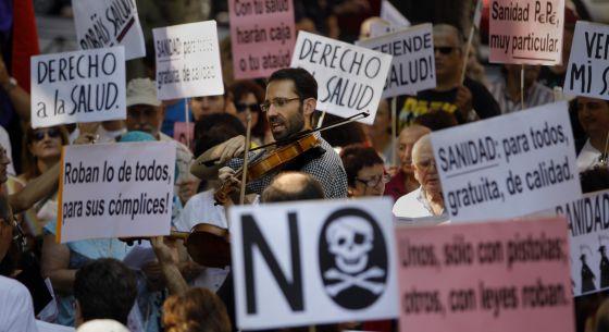 Protesta contra la privatización sanitaria en Madrid el 18 de agosto.