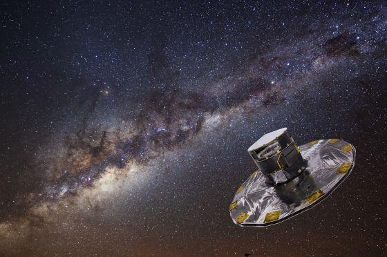 Ilustración del telescopio 'Gaia' sobre una fotografía de la Vía Láctea.