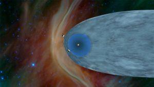 Localización de las naves Voyager 1 y Voyager 2 en el borde de la heliosfera, la burbuja creada por el viento solar.