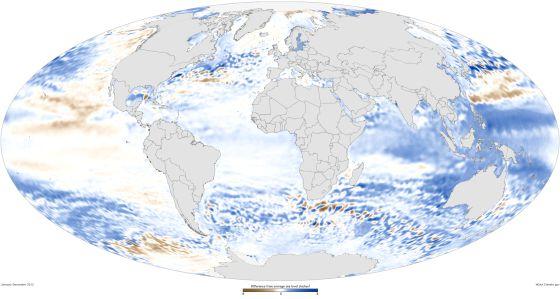Mapa del nivel del mar en 2012, en comparación con la media de 1993-2012, basado en datos tomados desde satélite.
