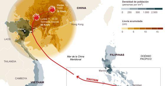 El supertifón ha pasado por Filipinas con velocidades de 120 kmh.
